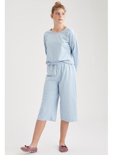 Defacto –Fit Pijama Üst Mavi